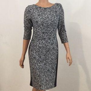 Lauren Black & White Pullover Midi Dress